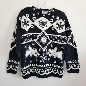 VTG Sigrid Olsen Hand Knitted Snow Flake Sweater
